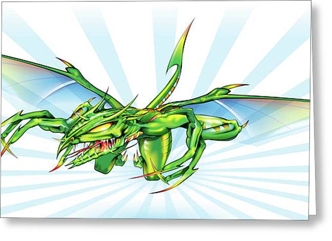 Sharp Claws Greeting Cards - Dragon V2 Greeting Card by Brian Gibbs
