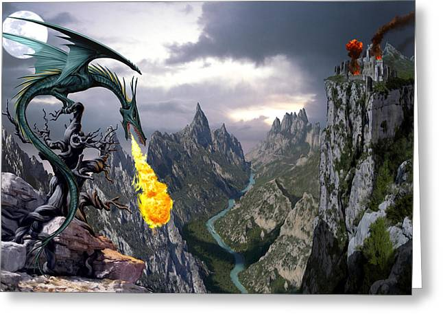 Dragon Greeting Cards - Dragon Valley Greeting Card by The Dragon Chronicles - Garry Wa