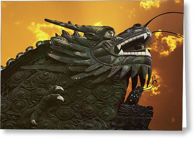 Creature Greeting Cards - Dragon Wall - Yu Garden Shanghai Greeting Card by Christine Till