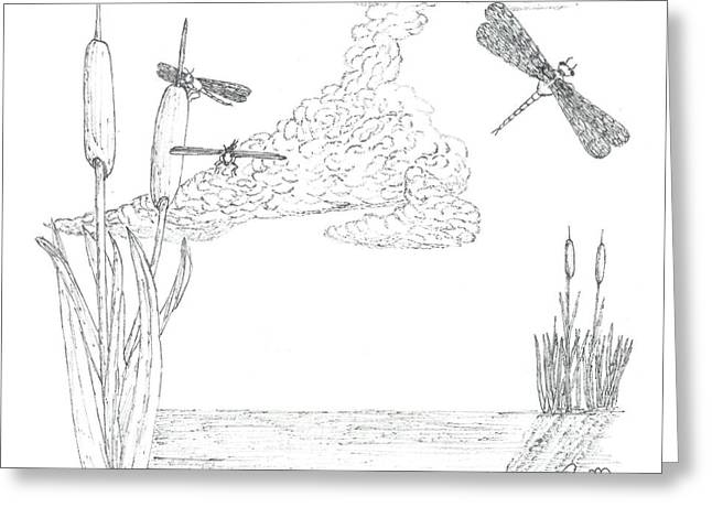 Robert Meszaros Drawings Greeting Cards - Dragonflies And Cattails - Sketch Greeting Card by Robert Meszaros