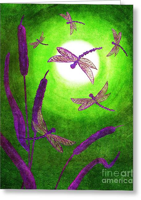 Bulrushes Greeting Cards - Dragonflies in Violet Greeting Card by Laura Iverson