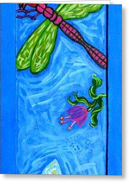 Wood. Commissions Greeting Cards - Dragonfly and Bee Greeting Card by Genevieve Esson