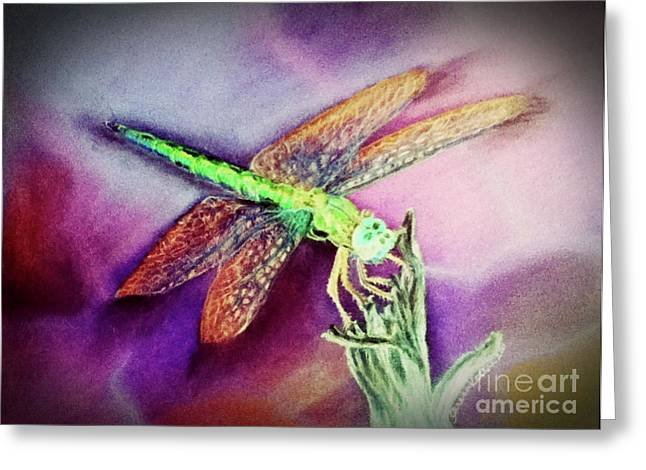 Dragonflies Pastels Greeting Cards - DragonFly Bright Greeting Card by Teresa Vecere