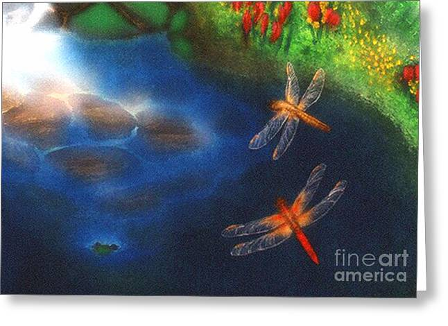 Best Sellers -  - Flying Frog Greeting Cards - Dragonfly Dance Greeting Card by Diveena Marcus