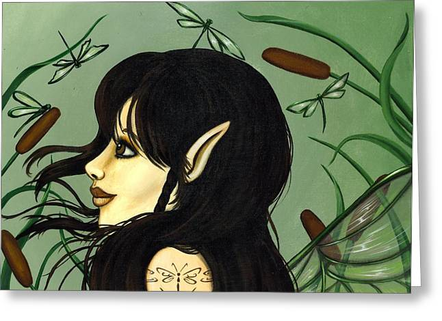 Fairies Greeting Cards - Dragonfly Fairy 5 Greeting Card by Elaina  Wagner
