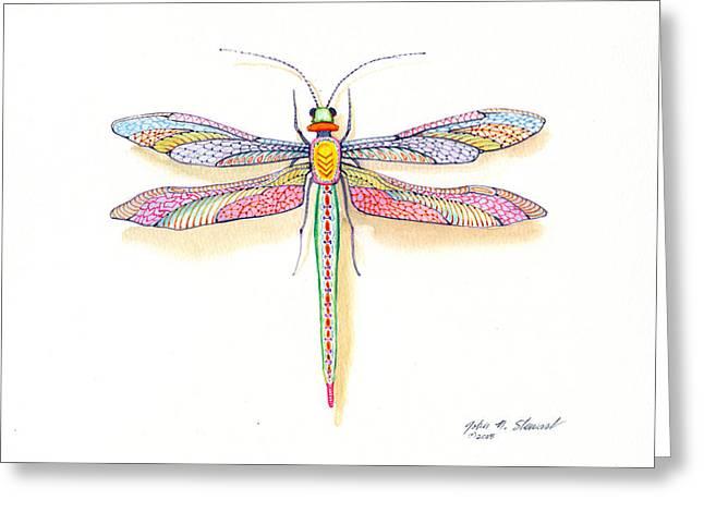John Stewart Greeting Cards - Dragonfly Greeting Card by John Norman Stewart