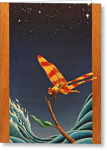 Tim Mixed Media Greeting Cards - Dragonfly Greeting Card by Tim Foley