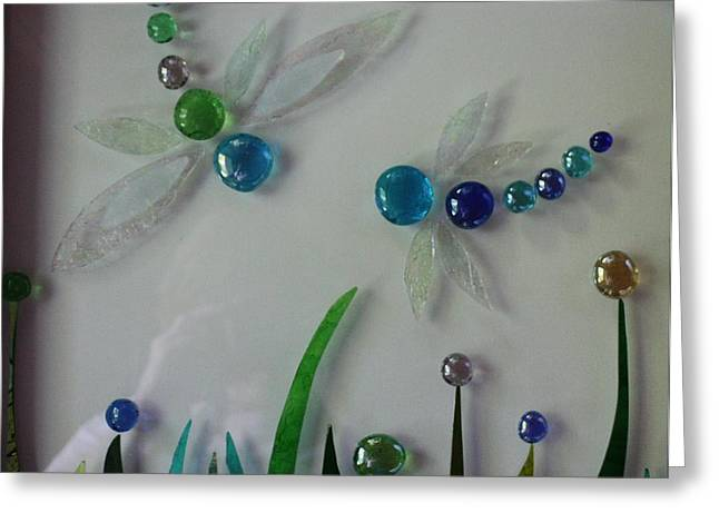 Garden Glass Art Greeting Cards - Dragons den Greeting Card by Pat Purdy