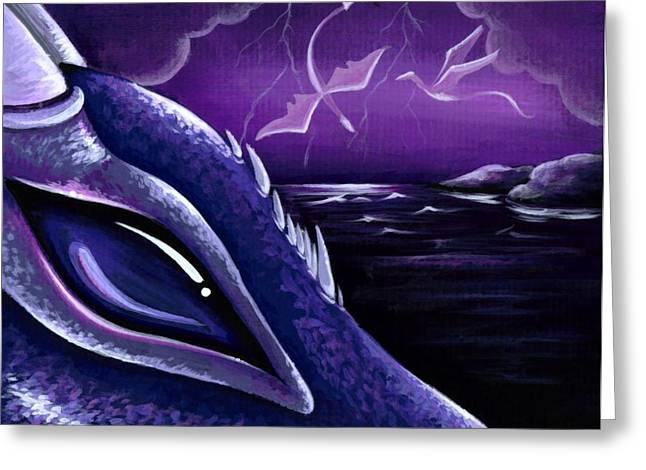 Fantasy Dragon Greeting Cards - Dragons Of Amethyst Coast Greeting Card by Elaina  Wagner