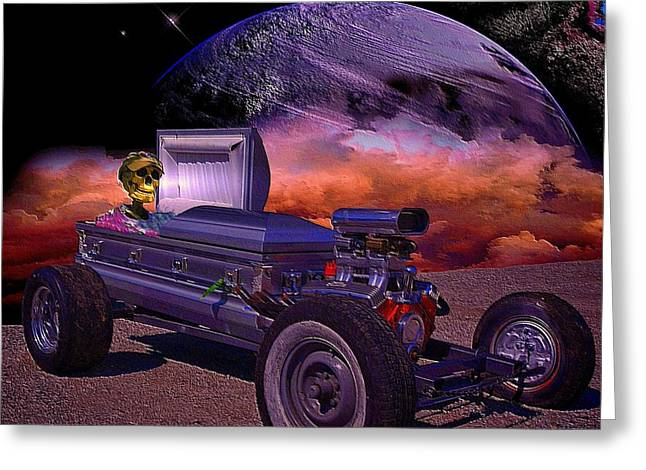 Movie Prop Greeting Cards - Dragula Munster Dragster Replica Greeting Card by Tim McCullough