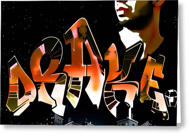 Nicki Minaj Greeting Cards - Drake Watch over the City by GBS Greeting Card by Anibal Diaz