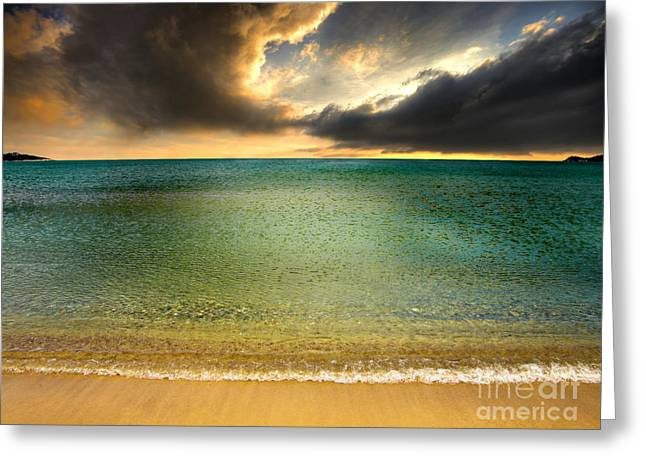 Headlands Greeting Cards - Drama At The Beach Greeting Card by Meirion Matthias