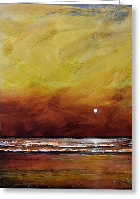 Abstract Beach Landscape Paintings Greeting Cards - Drama Ocean Greeting Card by Toni Grote