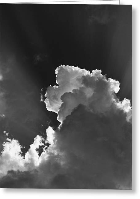 Flash Greeting Cards - Dramatic Black and White Sunbeams And Storm Clouds Maine Fine Art Print Greeting Card by Keith Webber Jr
