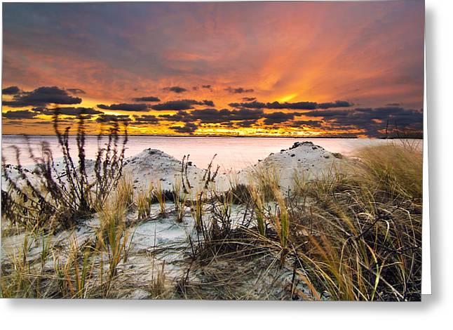 Babylon Greeting Cards - Dramatic Captree Sunrise Greeting Card by Vicki Jauron