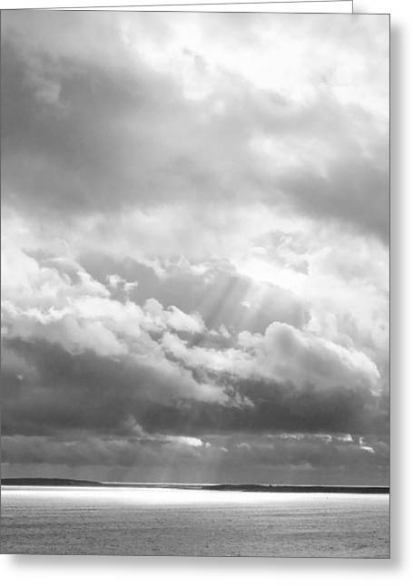 Coastal Maine Greeting Cards - Dramatic Clouds Seascape Acadia National Park Maine Black And White Photograph Greeting Card by Keith Webber Jr