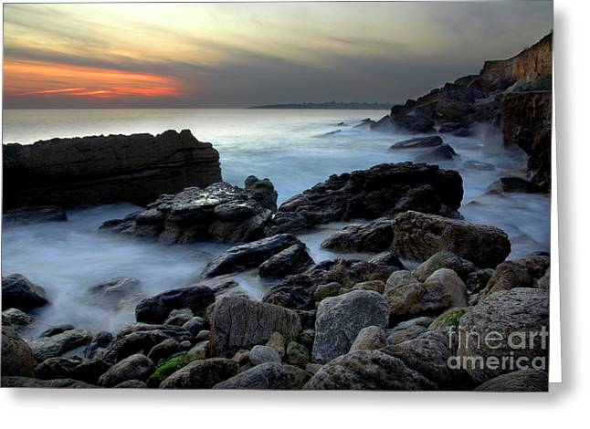 Abstract Seascape Greeting Cards - Dramatic Coastline Greeting Card by Carlos Caetano