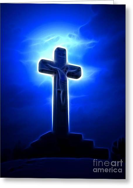 Calvary Mixed Media Greeting Cards - Dramatic Jesus Crucifixion Greeting Card by Pamela Johnson