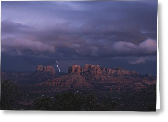 Cathedral Rock Greeting Cards - Dramatic Lightning Bolt Through Storm Greeting Card by Todd Gipstein