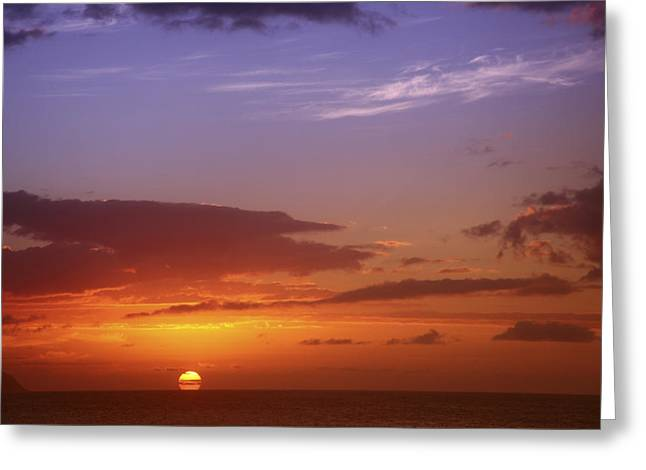 Destiny Greeting Cards - Dramatic Oahu Sunset Greeting Card by Vince Cavataio - Printscapes