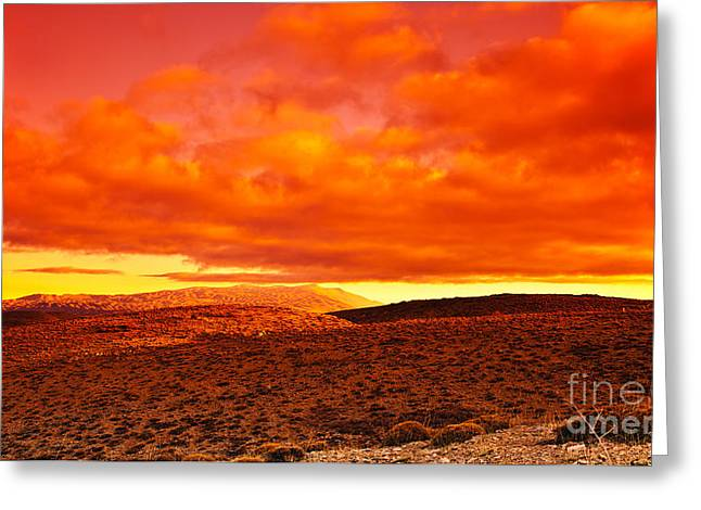 Sahara Sunlight Greeting Cards - Dramatic red sunset at desert Greeting Card by Anna Omelchenko