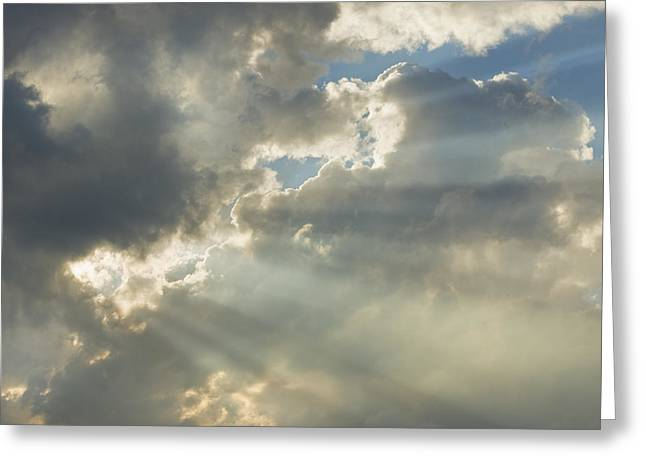Storm Digital Art Greeting Cards - Dramatic Sunbeams And Storm Clouds Maine Photo Prints Greeting Card by Keith Webber Jr