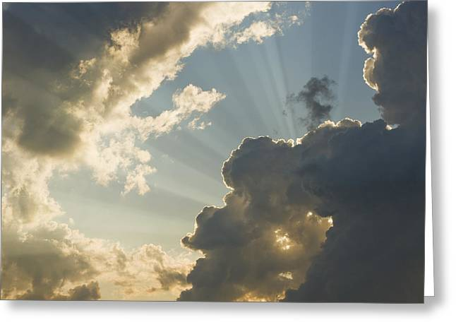 Enlightenment Photographs Greeting Cards - Dramatic Sunbeams And Storm Clouds Maine Photo Poster Print Greeting Card by Keith Webber Jr