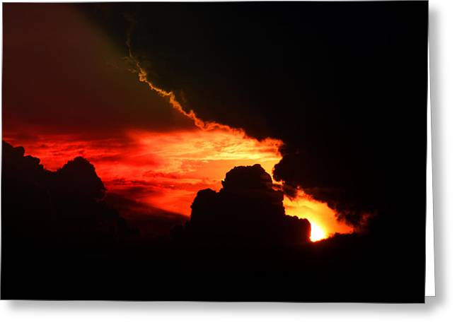 Dramatic Sunset II Greeting Card by Emanuel Tanjala