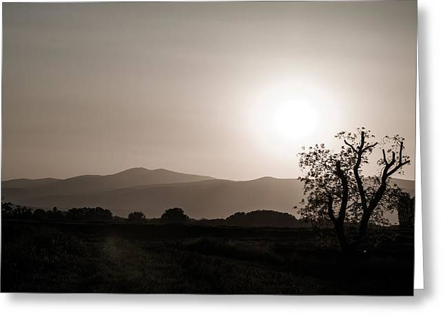 Dramatic sunset in Serbia Greeting Card by Milos Dacic