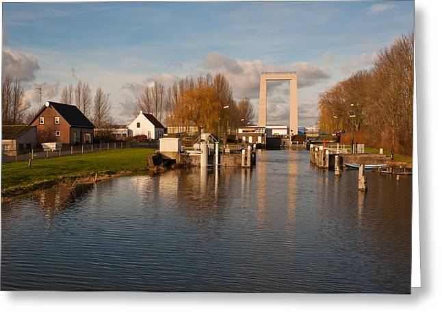Moerdijk Greeting Cards - Drawbridge and canal lock near Roodevaart a hamlet in the Dutch Greeting Card by Ruud Morijn