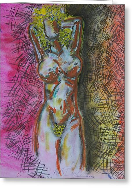 Digital Media Pastels Greeting Cards - Drawing of a Woman Greeting Card by B and C Art Shop
