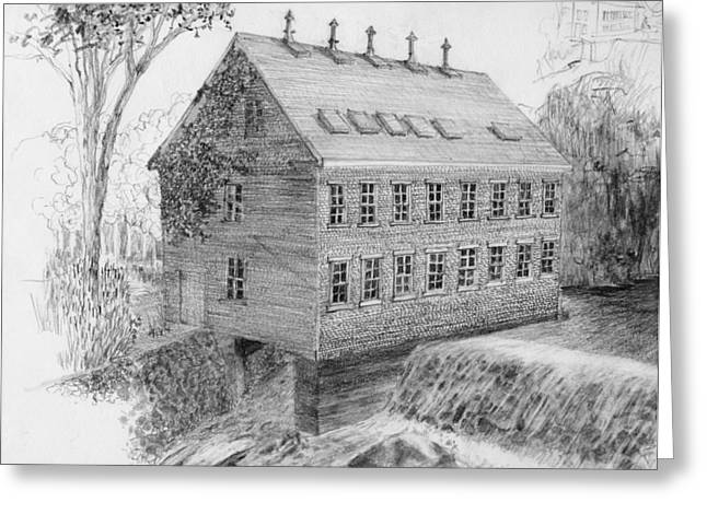 Flour Drawings Greeting Cards - DRAWING Salmon Dam Flour Mill Greeting Card by William OBrien