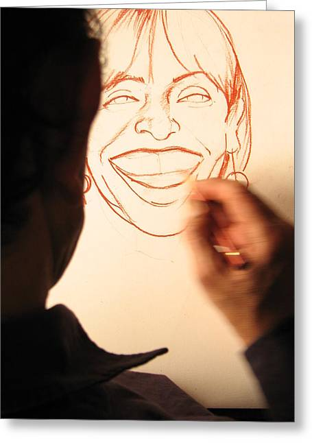 Painter At Work Greeting Cards - Drawing smiles Greeting Card by Tony Maduro