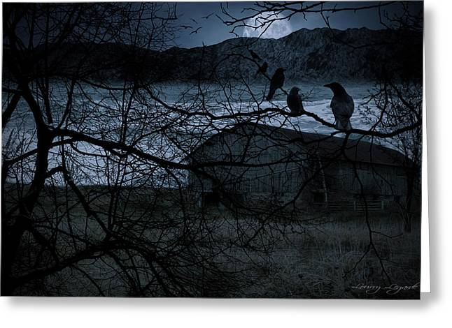 Canvas Crows Greeting Cards - Dreadful Silence Greeting Card by Lourry Legarde