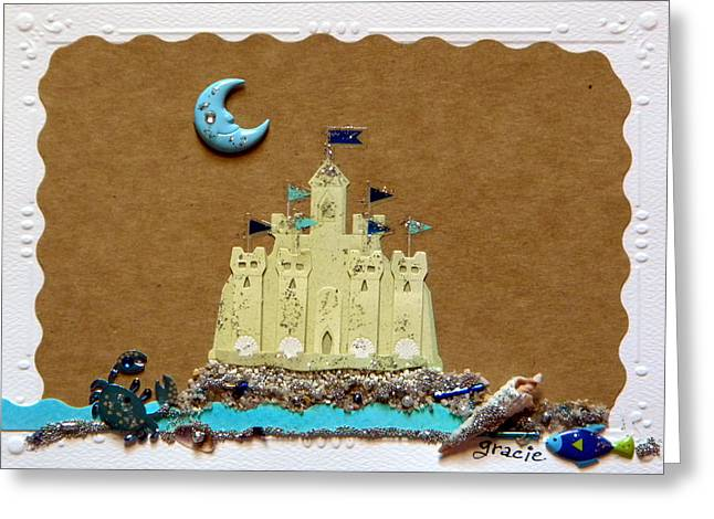 Sand Castles Mixed Media Greeting Cards - Dream Castle Greeting Card by Gracies Creations