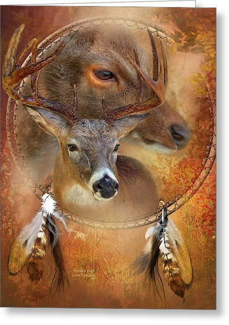 Autumn Scenes Mixed Media Greeting Cards - Dream Catcher - Autumn Deer Greeting Card by Carol Cavalaris