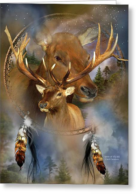 Wildlife Art Greeting Cards Greeting Cards - Dream Catcher - Spirit Of The Elk Greeting Card by Carol Cavalaris