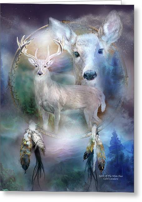 Does. Winter Greeting Cards - Dream Catcher - Spirit Of The White Deer Greeting Card by Carol Cavalaris