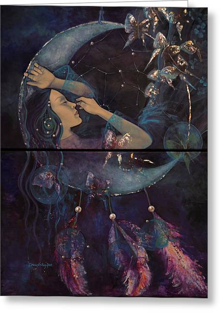Live Paintings Greeting Cards - Dream Catcher Greeting Card by Dorina  Costras