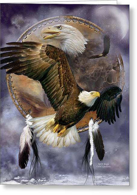 Wildlife Art Greeting Cards Greeting Cards - Dream Catcher - Spirit Eagle Greeting Card by Carol Cavalaris