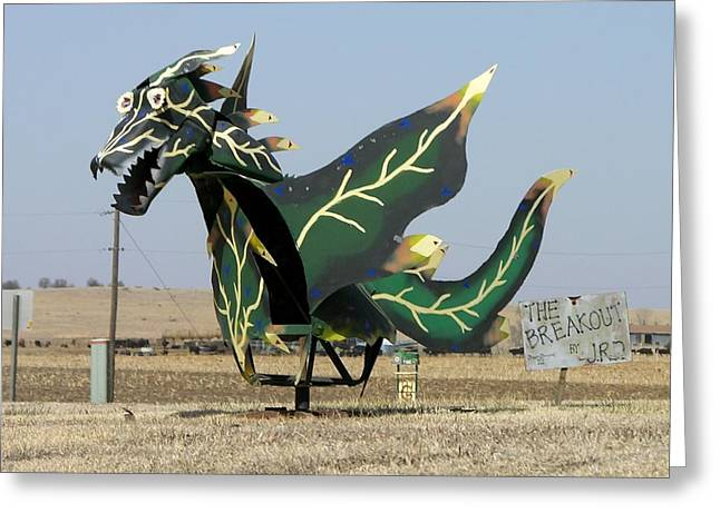 Outsider Art Sculptures Greeting Cards - Dream Dragon The Breakout Greeting Card by Keith Stokes