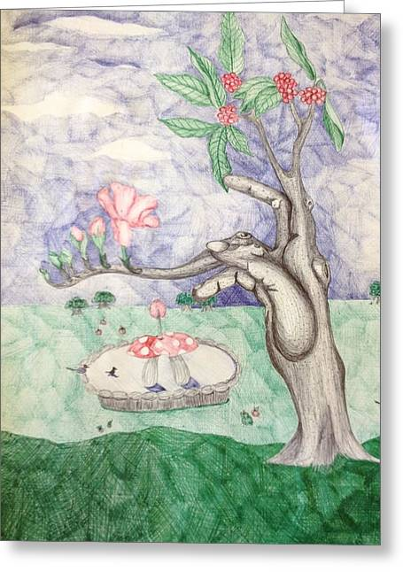 Surreal Landscape Drawings Greeting Cards - Dream Land Greeting Card by Rochelle Roberts
