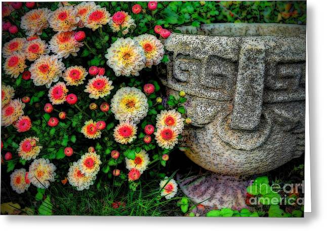 Stone Flower Planter Greeting Cards - Dream of a Garden Greeting Card by Michael Garyet