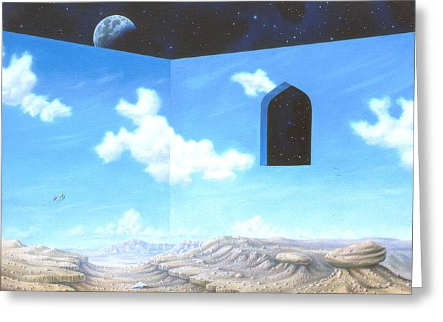 Contemporary Night Scape Greeting Cards - Dream Of Flight Greeting Card by Arley Blankenship