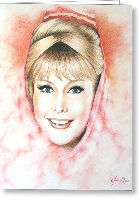 Barbara Eden Greeting Cards - Dream of Jeannie Greeting Card by Lena Day