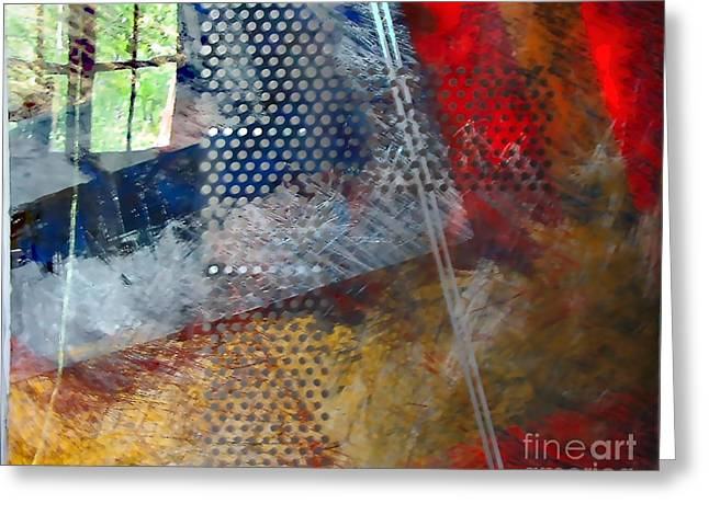 Geometric Abstraction Mixed Media Greeting Cards - Dream Of Summer In The Garden Greeting Card by Jeanette Leuers