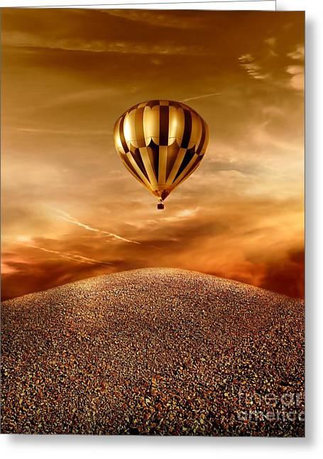 Golden Digital Art Greeting Cards - Dream Greeting Card by Photodream Art