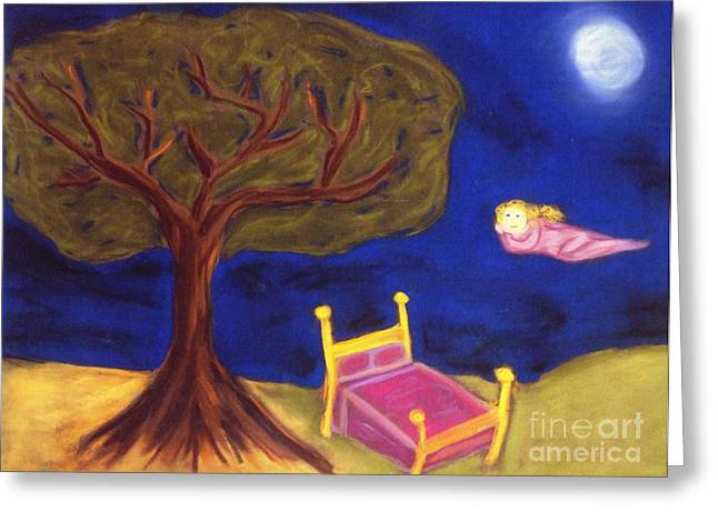 Floating Girl Pastels Greeting Cards - Dream Weaver Greeting Card by Christine Crosby