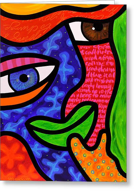 Abstract Faces Greeting Cards - Dream Weavers Greeting Card by Steven Scott