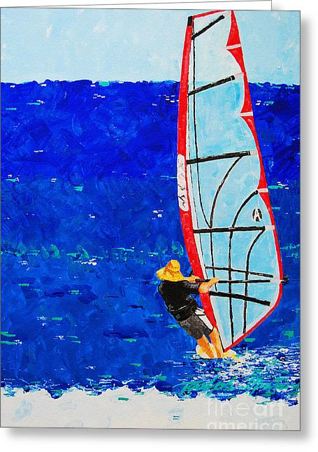 Wind Surfing Art Paintings Greeting Cards - Dreamer Disease III Greeting Card by Art Mantia